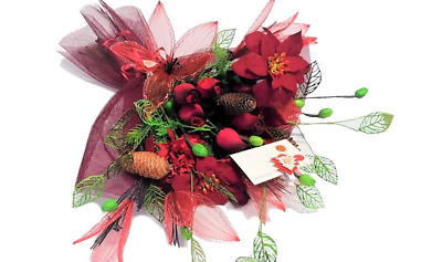 Endless Creations Christmas Bouquet - Wooden Roses - Net Flowers - Metal Leaves  • 12.49£