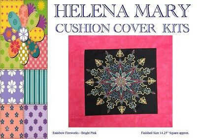 Patchwork Kit Complete Cushion Cover Kit - Rainbow Firework Bright Pink 14.25 Sq • 6.75£