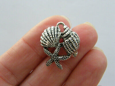 4 Shell Starfish Charms Antique Silver Tone FF141 • 2.30£