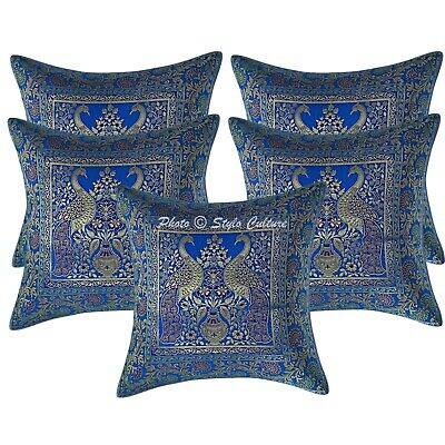 Ethnic Cushion Covers 16 X 16 Turquoise Brocade Peacock Set Of 5 Pillow Cases • 18.96£