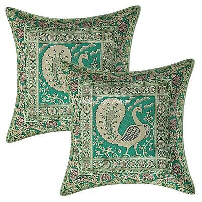 Traditional Cushion Covers 16x16 Green Brocade Peacock Set Of 2 Pillowcase • 11.96£