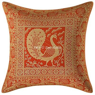 Indian Cushion Cover 16x16 Red Brocade Dancing Peacock 1 Pc Scatter Pillowcase • 8.46£