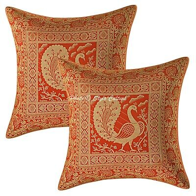 Ethnic Cushion Covers 16 X 16 Red Brocade Dancing Peacock Pillow Cases Set Of 2 • 11.96£