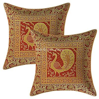 Traditional Cushion Covers 40x40 Cm Burgundy Brocade Dancing Peacock Set Of 2 • 11.96£
