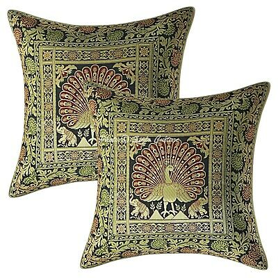 Decorative Cushion Covers 40x40 Cm Peacock Brocade Scatter Pillowcase Set Of 2 • 11.96£