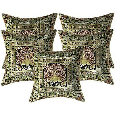 Indian Cushion Covers 16x16 Black Brocade Dancing Peacock Pillow Cases Set Of 5 • 18.96£