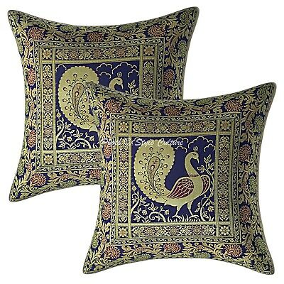 Traditional Cushion Covers 40 X 40 Cm Navy Blue Brocade Dancing Peacock Set Of 2 • 11.96£