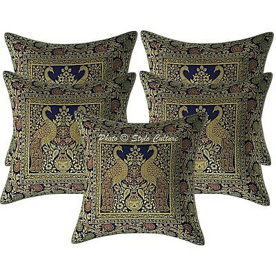 Ethnic Cushion Covers 40 X 40 Cm Navy Blue Brocade Peacock Pillowcases Set Of 5 • 18.96£