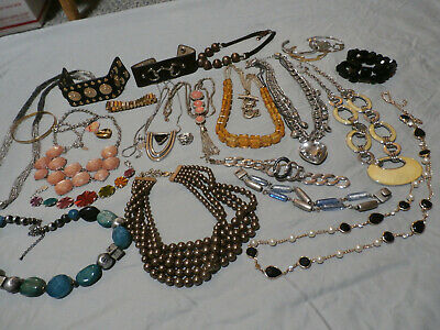 $ CDN86.66 • Buy Signed Jewelry Lot Necklace Bracelets 24 Pieces Lia Sophia NY Avon Disney Fossil