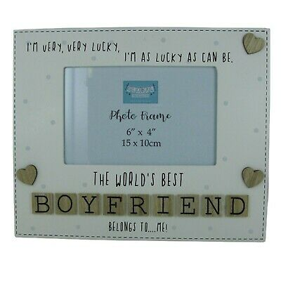 Photo Frame The Worlds Best Boyfriend Letter Tiles Love You Wood Cream 6x4   • 15.95£