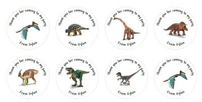 £2 • Buy 24 X Personalised Dinosaur Stickers Labels Party Bag Thank You 4cm