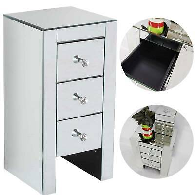 £82.59 • Buy Modern Mirrored Glass Bedside Cabinets Tables Crystal Chest 3 Drawers Nightstand