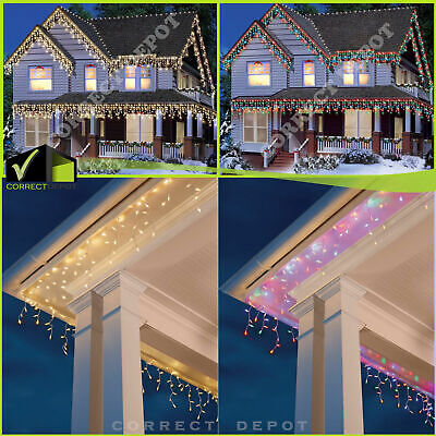 300 COUNT ICICLE CHRISTMAS LIGHTS Set Outdoor Indoor Holiday Home Decoration • 16.99$