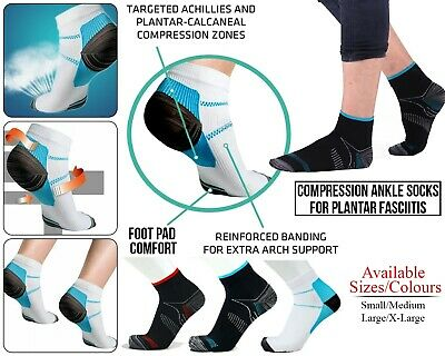 Compression Socks Planter Fasciitis Heel Ankle Support Foot Arch Pain Relief • 3.09£
