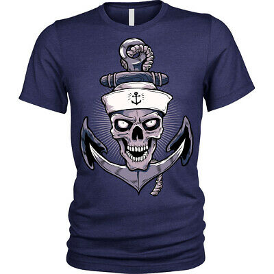 Anchor Skull T-Shirt Unisex Mens • 8.95£
