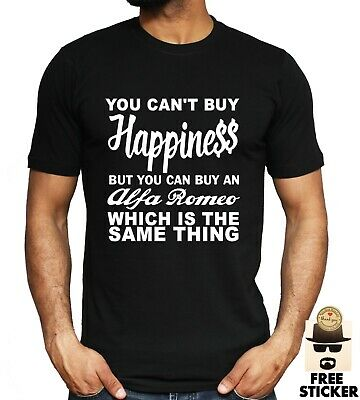 Alfa Romeo Funny T-shirt Can't Buy Happiness Auto Car Dad Fathers Gift Men's Tee • 8.99£