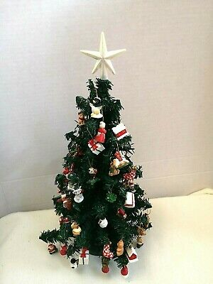 $ CDN78.51 • Buy Vintage Christmas Tree Table Top With Miniature Ornaments  Star Topper 14  Tall