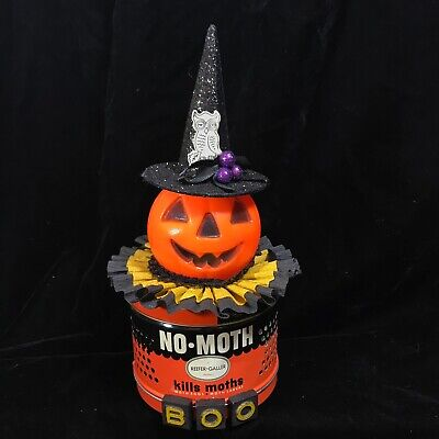 $35 • Buy Vintage Halloween Pumpkin Blow Mold Moth Can Hand Crafted Assemblage Decoration