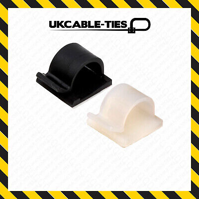 £3.39 • Buy Self-Adhesive Nylon Clips Fasteners For Wire, Cable, Conduit Black Natural/White
