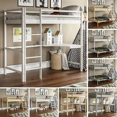 Triple Sleeper Bunk Bed Loft Cabin Pine Wood Frame Ladder Single 3FT Double 4FT6 • 193.90£