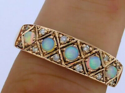 AU641.61 • Buy R275 Genuine 9K Solid Gold Natural Opal & Diamond Eternity Band Ring In Yr Size