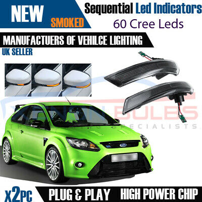 2× Dynamic LED Turn Signal Mirror Light Indicator Ford Focus Mk2 Mk3 Mondeo M17 • 44.95£