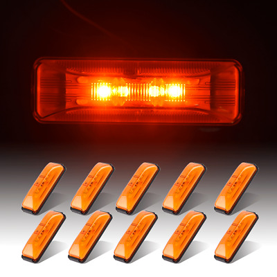 10x 4  Amber Clearance LED Side Marker Light W/Base DOT 4LED Trailer Truck RV • 19.23$