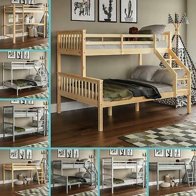 Bunk Bed Triple Sleeper Loft Cabin Bed Solid Wood Frame Kids Ladder Desk Pine • 193.90£