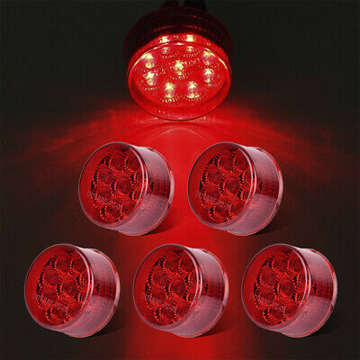 5xRed 9LED 2  Round Clearance Side Marker Light W/Reflector Trailer Truck RV LED • 18.40$