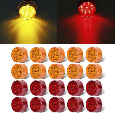 20x Red+Amber 2  Round Clearance Side Marker Light Truck Trailer RV  9LED 12V • 62.10$