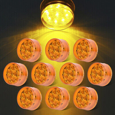 10 X Amber 2  Round Clearence Side Marker Lights 9LED Trailer Truck RV Boat 12V • 31.79$