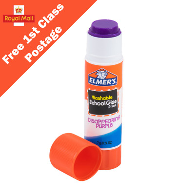 Elmer's Disappearing Purple School Glue Stick 7g - Goes On Purple, Dries Clear! • 3.25£