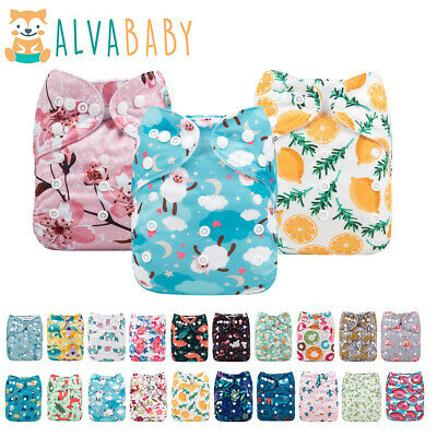 AU7.69 • Buy ALVA Baby Cloth Nappies Printing Adjustable Reusable Pocket Diapers Cover 3-15KG