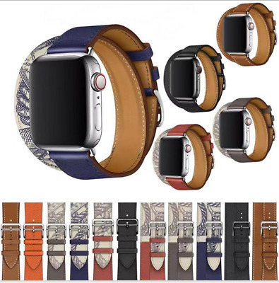 $ CDN10.99 • Buy Leather Watch Band Single Double Tour For Apple Watch Series 5 4 3 2 1 40MM 44MM
