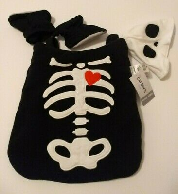 $16.96 • Buy Carters Baby One Size Skeleton Halloween Carrier 3 Piece Costume Set