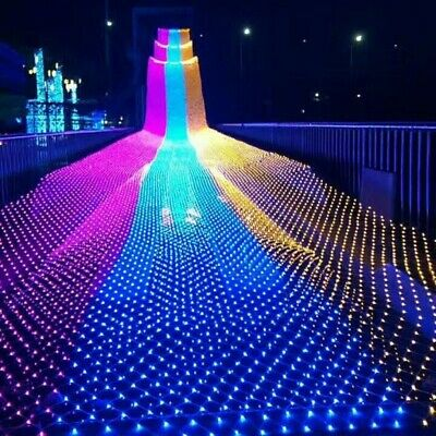 $7.86 • Buy LED String Fairy Light Net Mesh Curtain Xmas Wedding Party Decor Outdoor Indoor