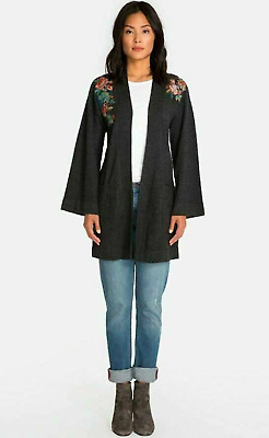 NWT Johnny Was Charcoal Grey Embroidered Cashmere Kimono Size  L Large Gorgeous • 148$