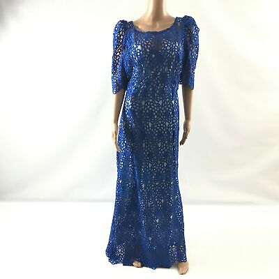 $54.59 • Buy Womens African Long Lace Dress Traditional Scoop Neck Short Sleeve Blue Size L