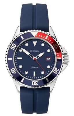 £24.99 • Buy Sekonda Mens Sports Watch With Blue Dial And Blue Rubber Strap 1806