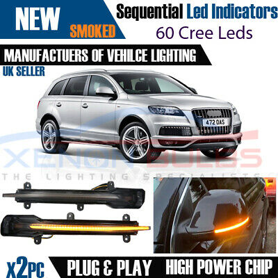 2x Sequential Dynamic LED Wing Mirror Indicator Light Fit AUDI Q5 Q7 M10 • 44.95£