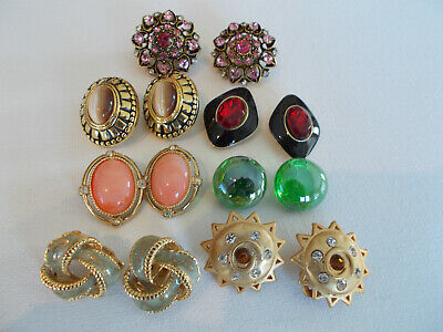 $ CDN25 • Buy Small Lot Of 7 Pair Of Fashion Clip On Earrings, Gold & Silver Tone, 7 Clip Ons