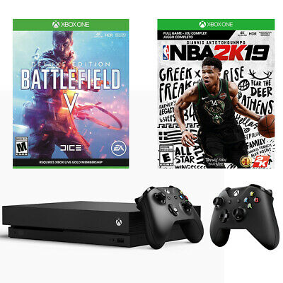 $299.99 • Buy 2019 Xbox One X Battlefield V Deluxe + NBA 2K19 + Extra Conrtoller 1TB Bundle