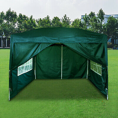3Mx3M Gazebo Pop-up Marquee Canopy Waterproof W/ Sides Wedding Party Tent Green • 67.99£