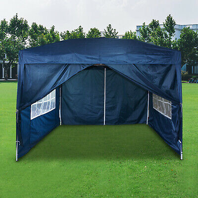 3Mx3M Gazebo Marquee Canopy With Sides Waterproof Pop-up Wedding Party Tent Blue • 67.99£