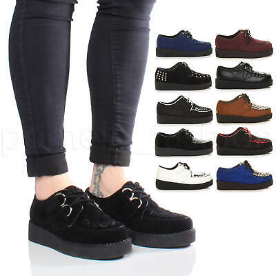 £16.99 • Buy Womens Ladies Flatform Platform Lace Up Goth Punk Brothel Creepers Shoes Size