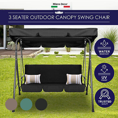 AU159.95 • Buy Milano Outdoor Swing Bench Seat Chair Canopy Furniture 3 Seater Garden Hammock