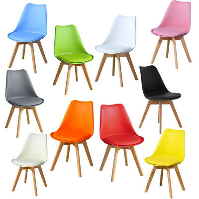 £89.99 • Buy 1/2/4 Wooded Dining Chairs Solid Wood PU Padded Seat PP Plastic Dining Room