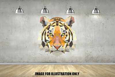 Tiger Geometric Animals Childrens Wall Stickers Bedroom Wall Art 3 Sizes • 13.99£