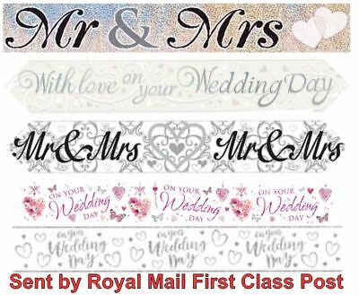 Wedding Banners Congratulations Celebrate Decorations Party Mr & Mrs Bride Groom • 2.59£