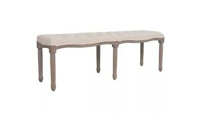 French Bed End Bench Antique Cream Linen Bench Entry Accent 3 Seater Furniture • 259.99£